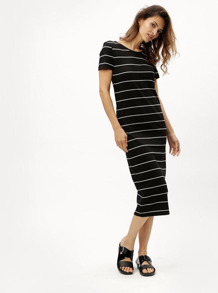 Černé pruhované šaty ONLY Abbie