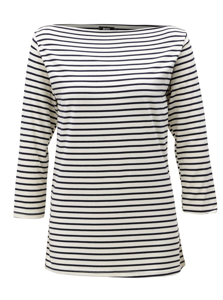Modro-bílé pruhované tričko s 3/4 rukávem ZOOT