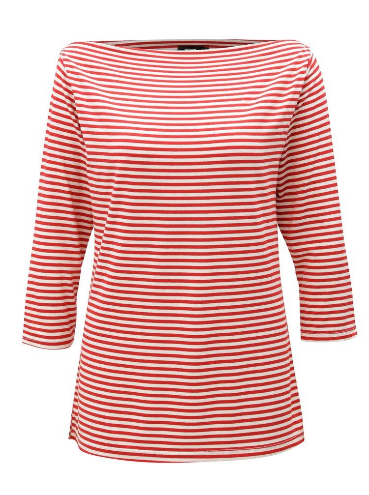 Bílo-červené pruhované tričko s 3/4 rukávem ZOOT