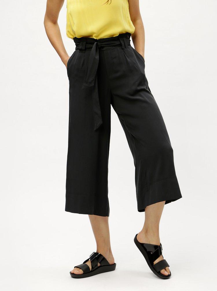 Pantaloni culottes negri cu cordon ONLY Devon