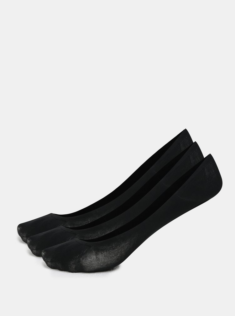 Set de 3 perechi de sosete scurte negre din bumbac Bellinda