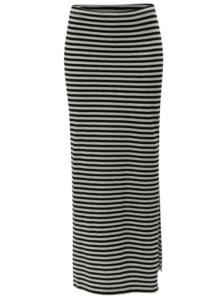 Černo-šedá pruhovaná žíhaná maxi sukně s rozparky ONLY Abbie