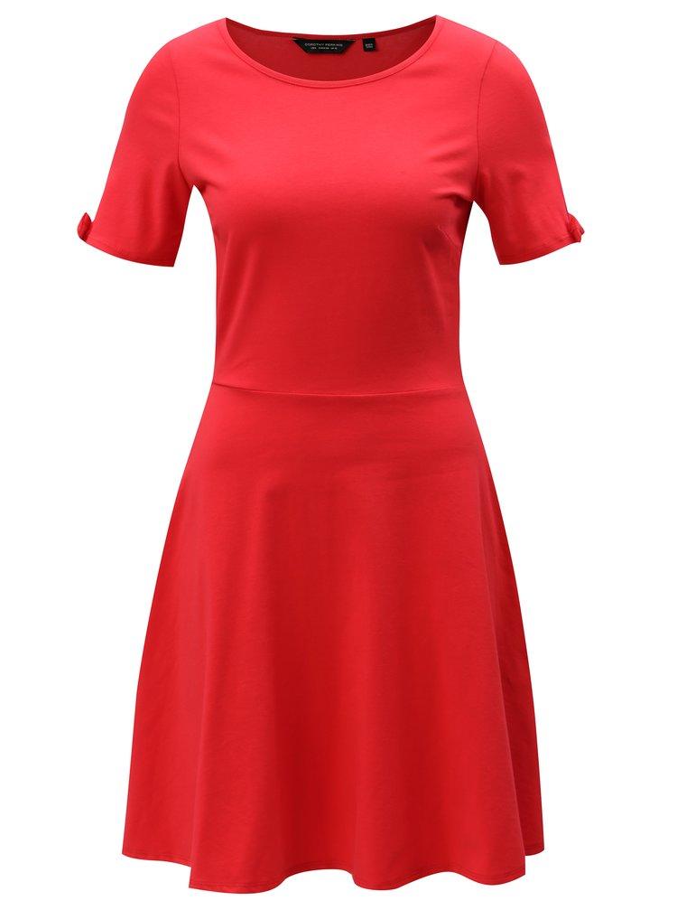 Červené šaty s mašlemi na rukávech Dorothy Perkins