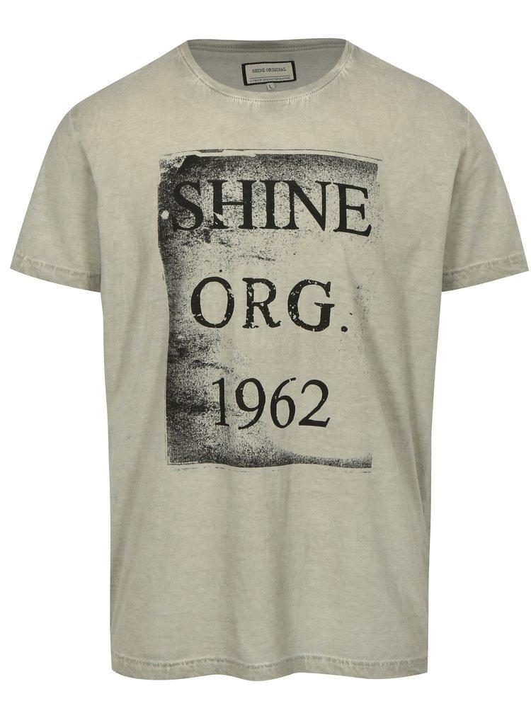 Sivé tričko s potlačou a krátkym rukávom Shine Original