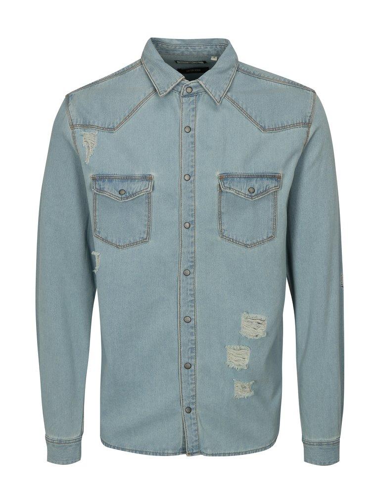 Světle modrá džínová košile s potrhaným efektem Shine Original