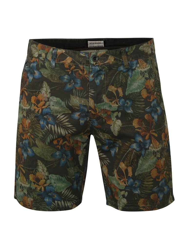 Pantaloni verzi chino cu model floral Shine Original