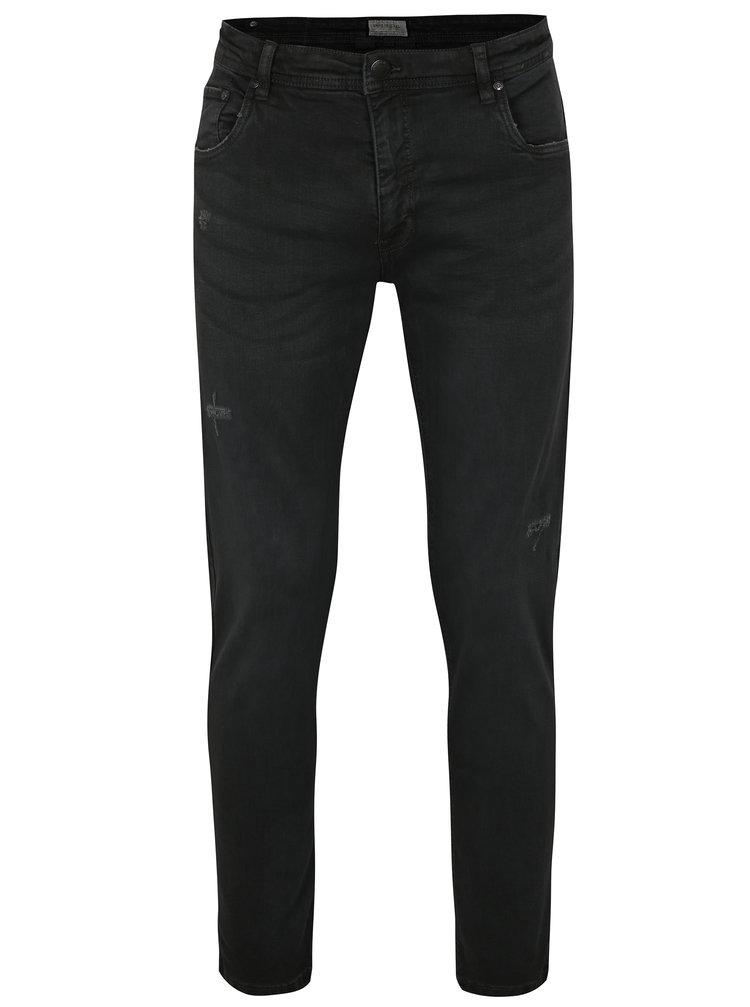 Tmavě šedé tapered fit džíny s potrhaným efektem Shine Original