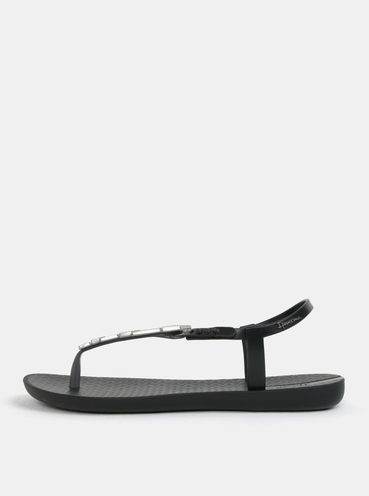 Sandale negre cu decoratie argintie Ipanema Charm V