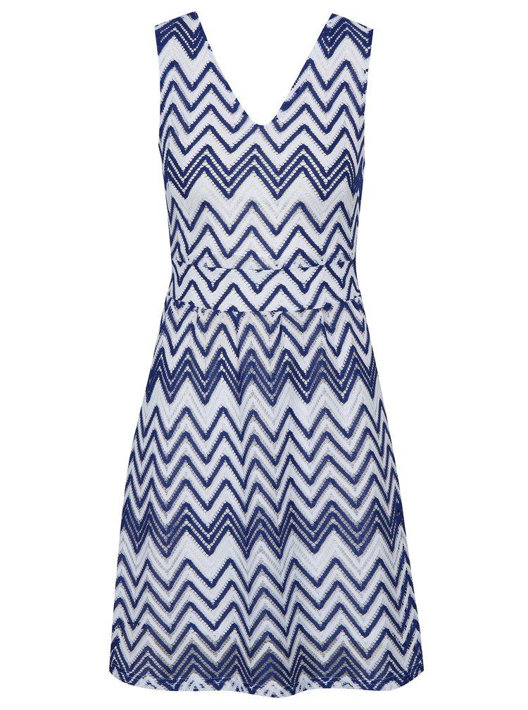 Modré vzorované šaty s páskem Mela London