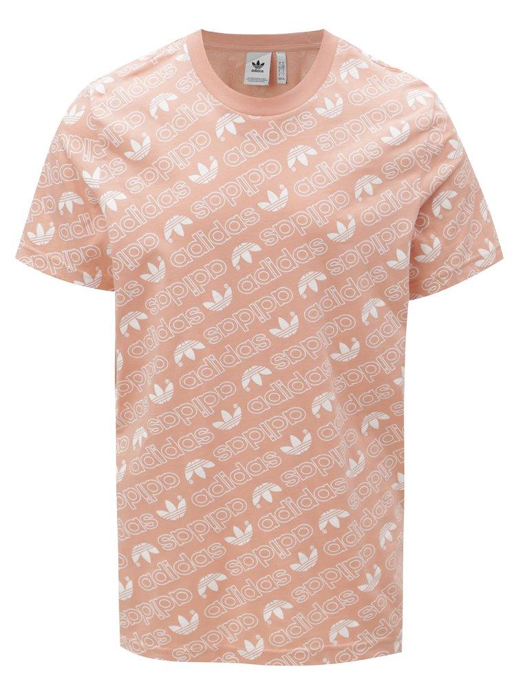 Starorůžové pánské tričko s potiskem adidas Originals