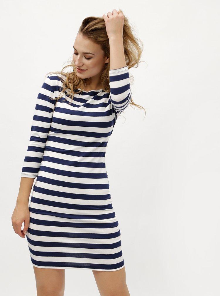 Modro-bílé pruhované šaty s 3/4 rukávem ZOOT