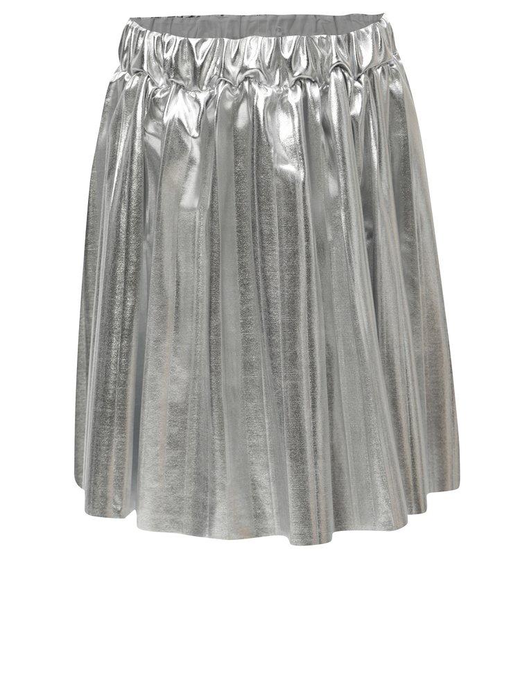 Plisovaná holčičí metalická sukně ve stříbrné barvě 5.10.15.