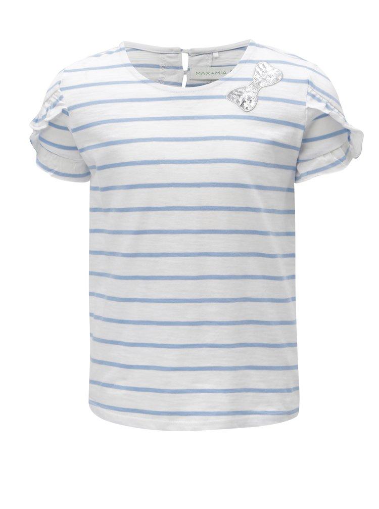 Modro-bílé holčičí pruhované tričko s nášivkou 5.10.15.