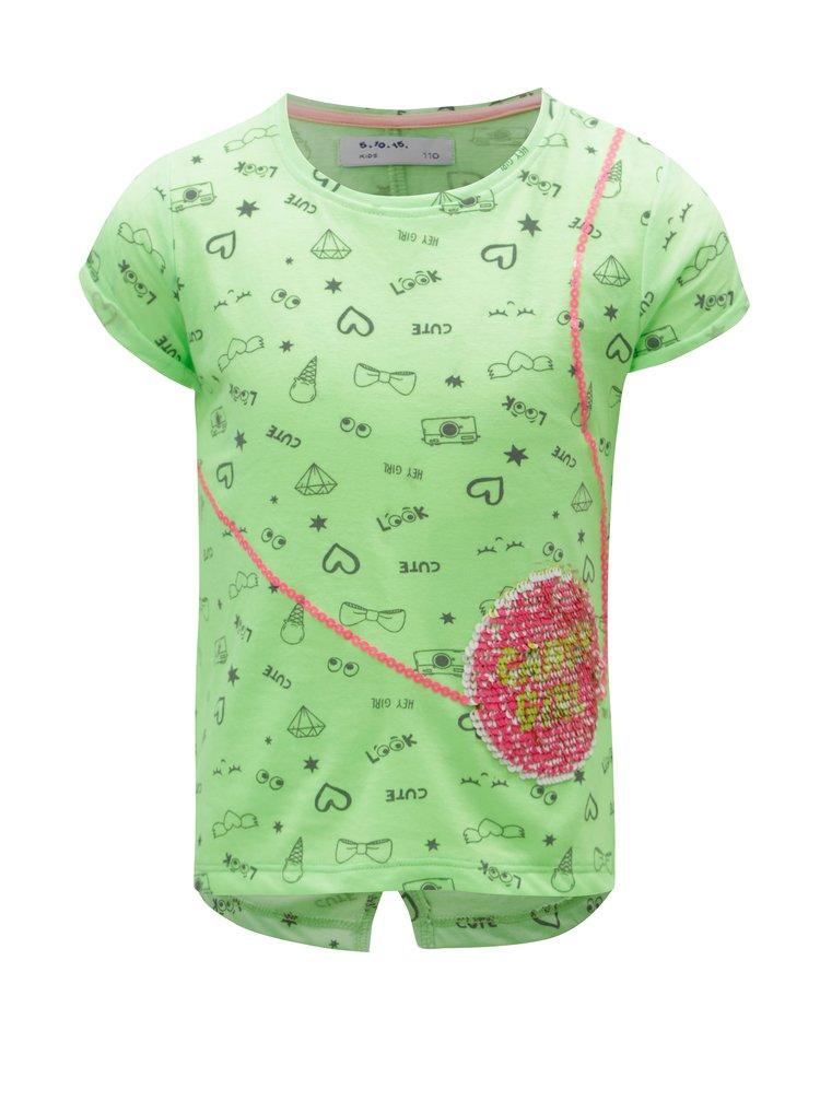 Neonově zelené vzorované holčičí tričko 5.10.15.