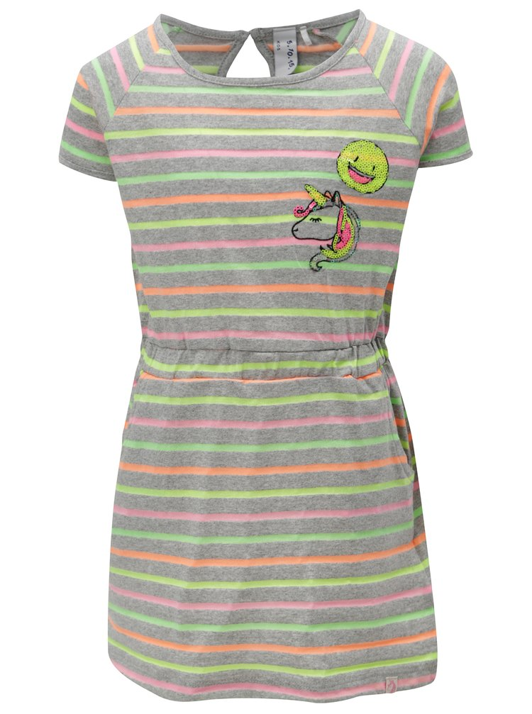 Šedé holčičí pruhované šaty s gumou v pase 5.10.15.