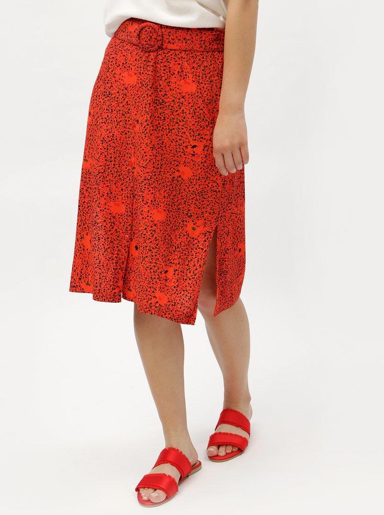 Červená vzorovaná sukně s páskem VERO MODA Madeleine