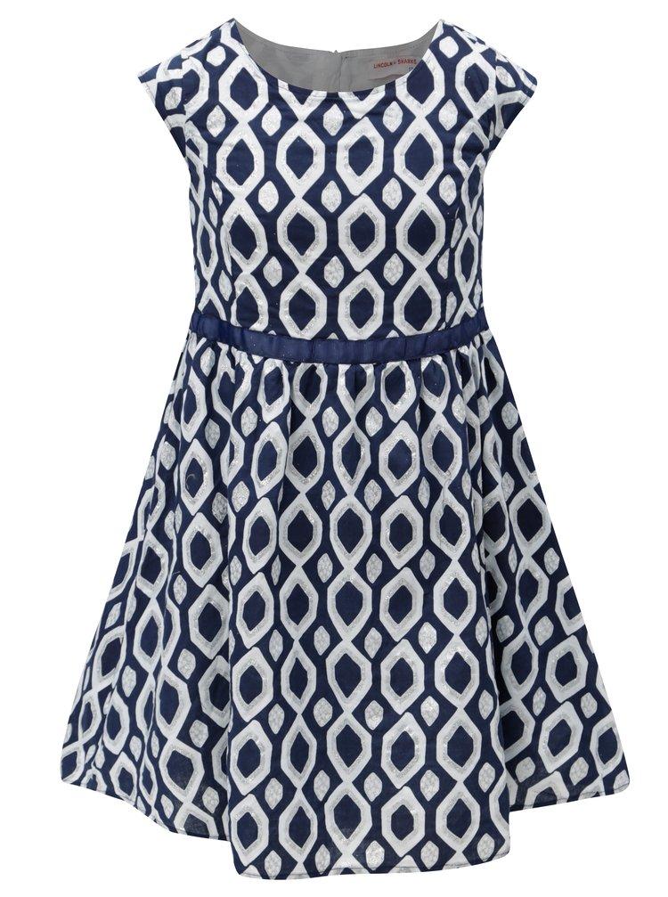 Bílo-modré holčičí vzorované šaty 5.10.15.