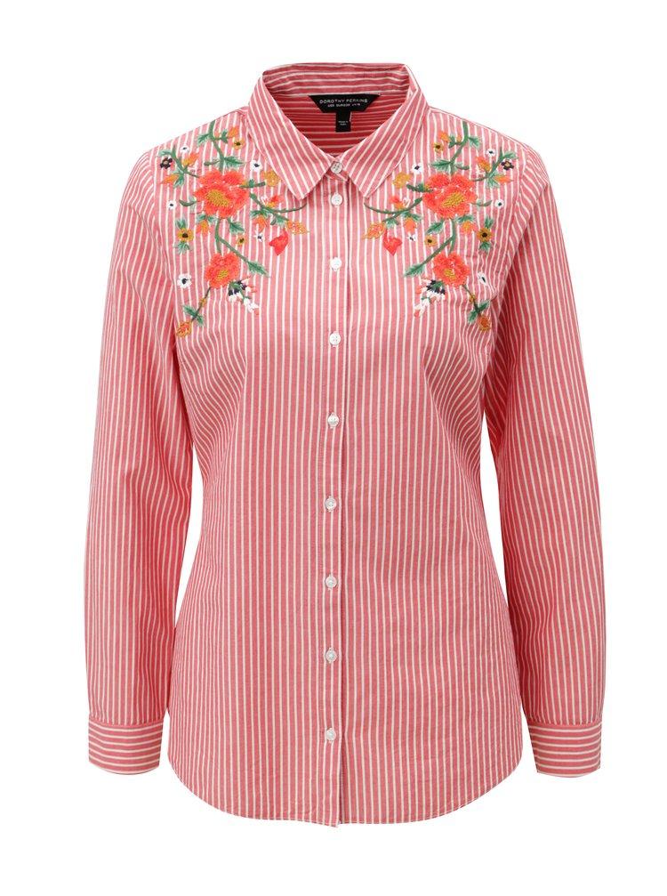 Bílo-červená pruhovaná košile Dorothy Perkins