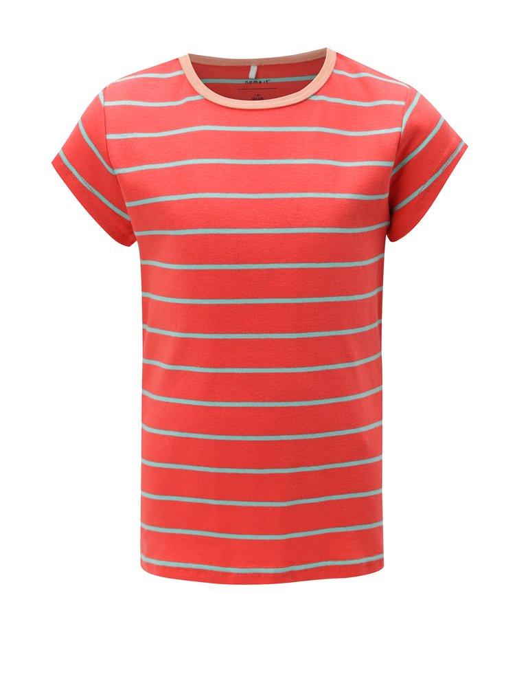 Červené holčičí pruhované tričko name it Verit
