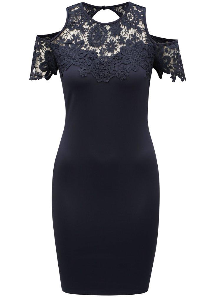 Tmavomodré puzdrové šaty s prestrihmi na ramenách AX Paris