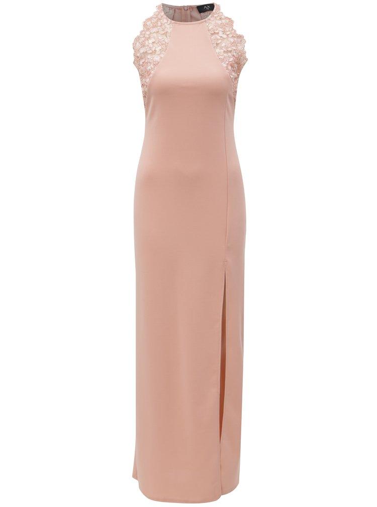 Rochie maxi roz deschis cu dantela si slit AX Paris