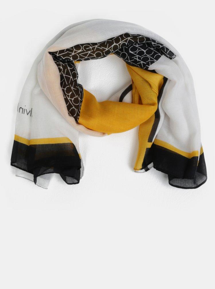 Čierno-žltá dámska šatka Calvin Klein Jeans