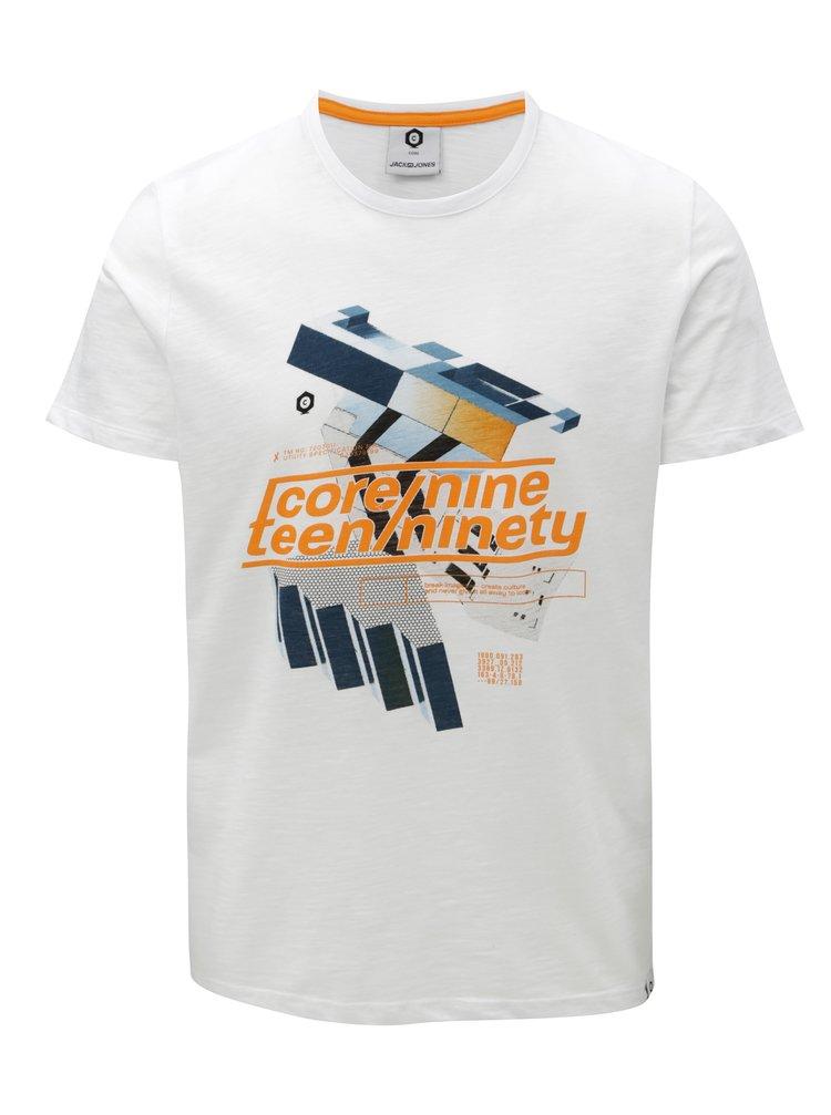 Bílé tričko s barevným potiskem Jack & Jones Phil-Burke