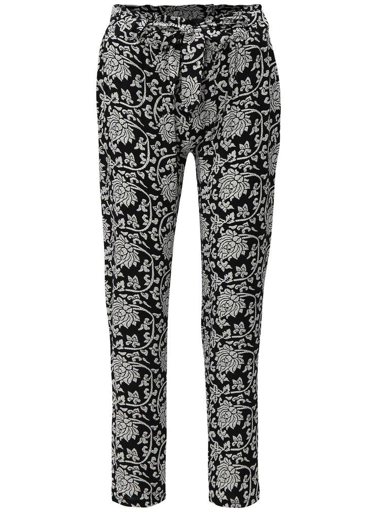 Pantaloni alb-negru lejeri cu model si talie inalta Haily´s Ronja
