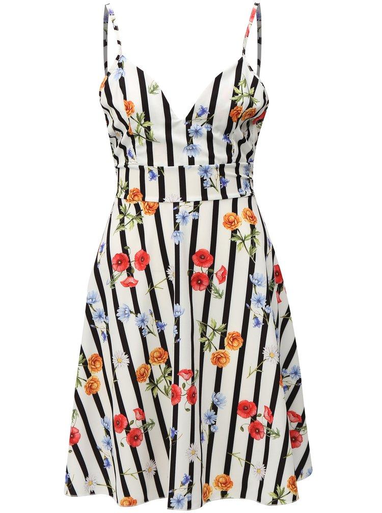 Bílé pruhované šaty s květovaným vzorem Haily´s Amelia