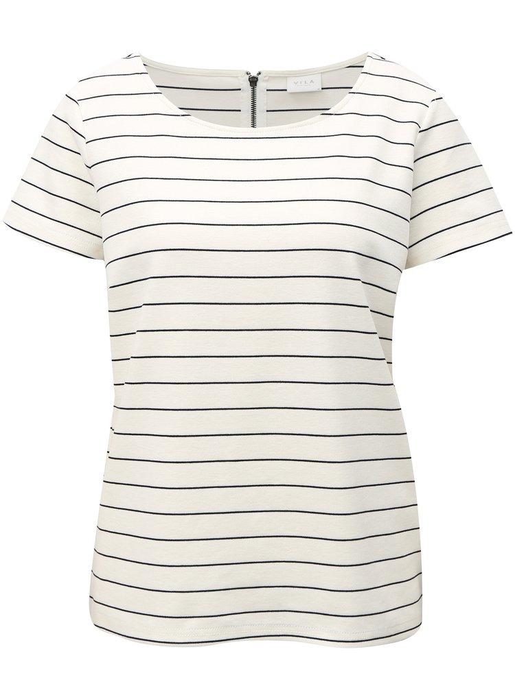 Biele pruhované tričko VILA Tinny