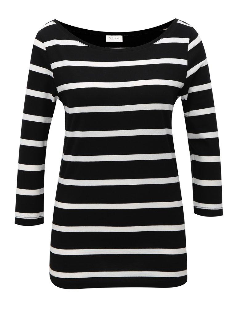 Bílo-černé pruhované basic tričko VILA Striped