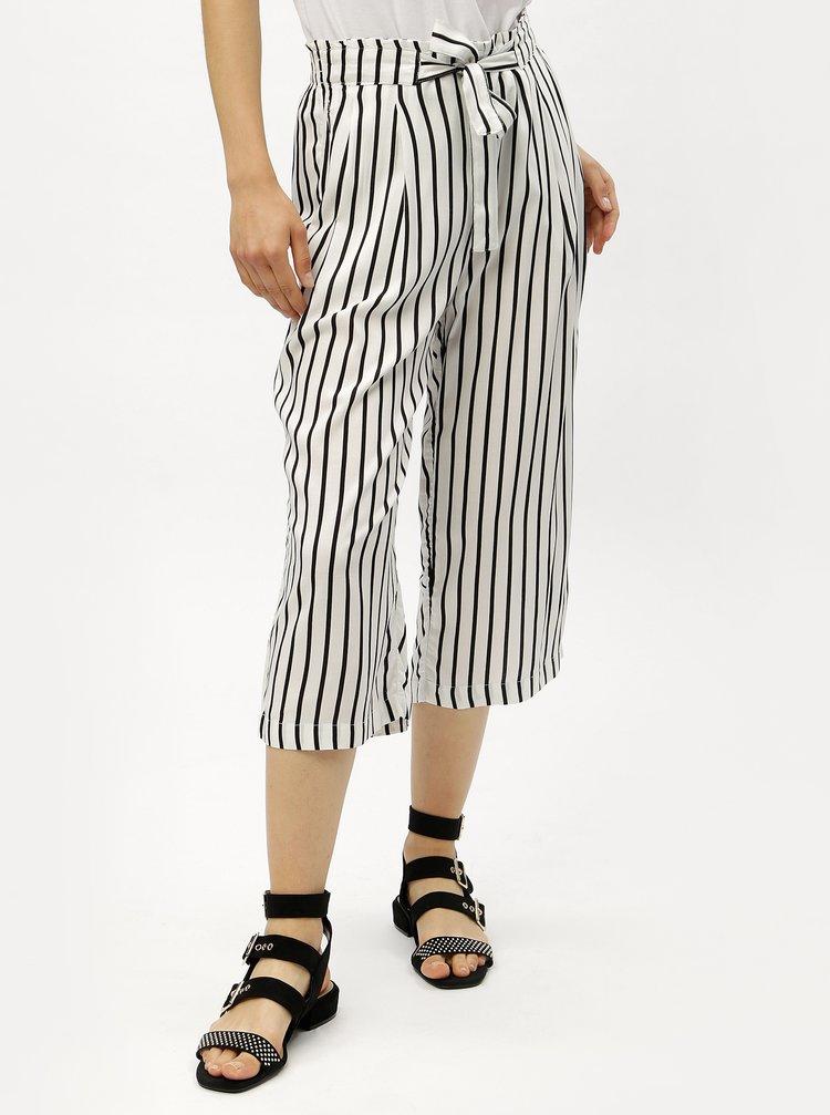 Černo-bílé pruhované culottes s vysokým pasem Jacqueline de Yong