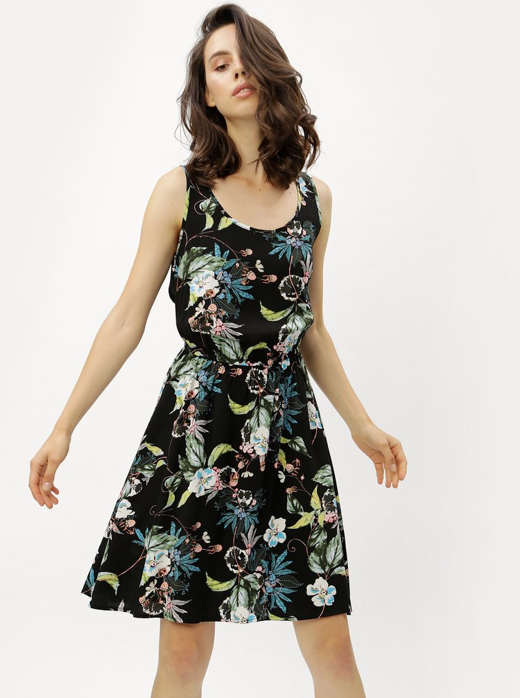 Rochie neagra cu model floral ONLY
