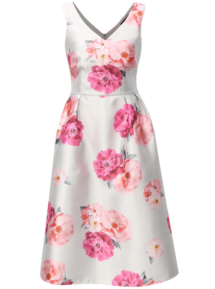 Rochie midi gri deschis cu model floral si snur in talie Dorothy Perkins