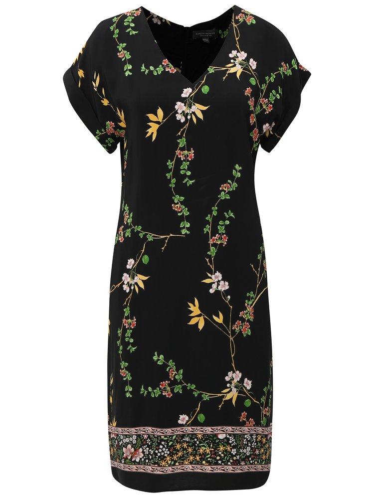 Čierne puzdrové šaty s kvetovaným vzorom Dorothy Perkins Tall