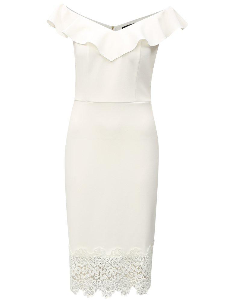 Bíle šaty s krajkou a s lodičkovým výstřihem Dorothy Perkins