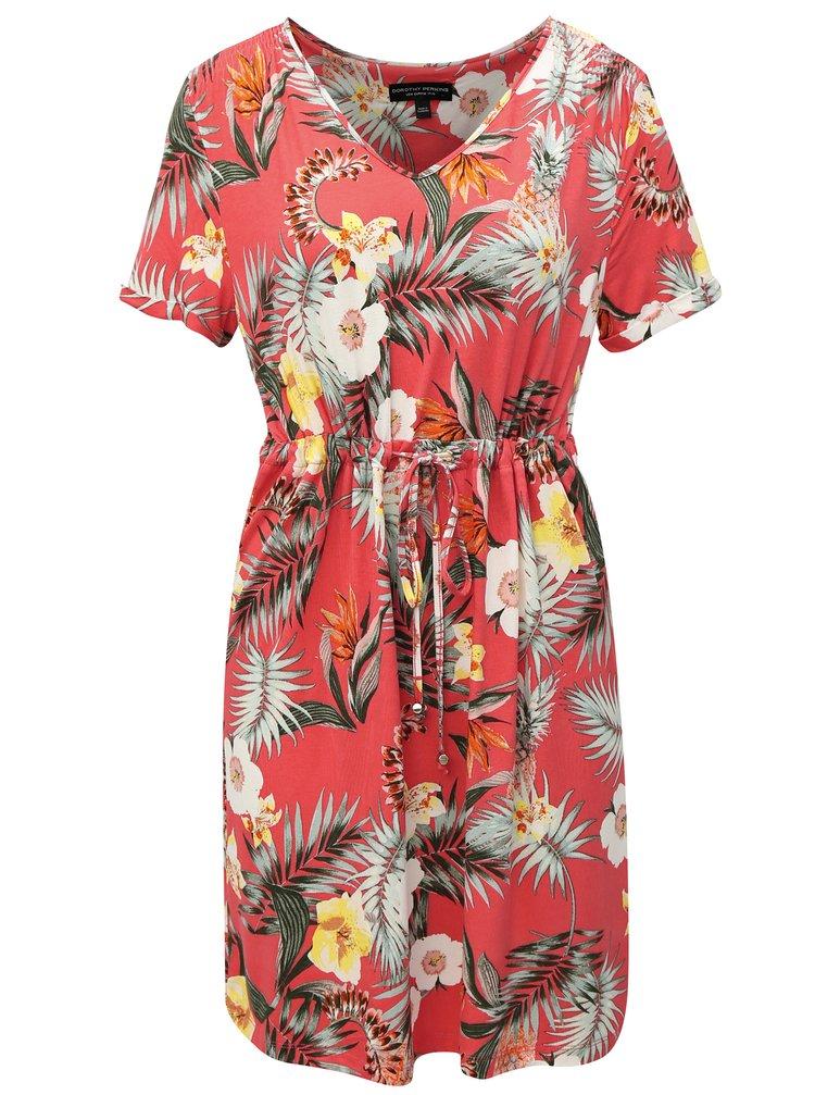Korálové vzorované šaty se zavazováním Dorothy Perkins