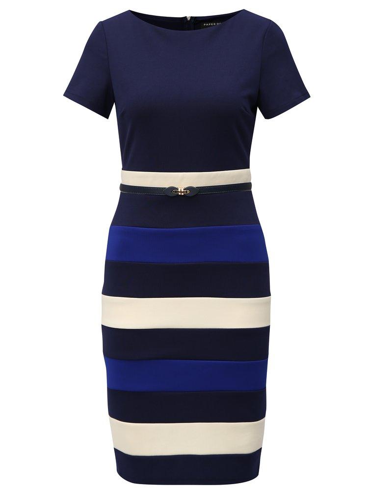 Tmavě modré pruhované šaty s páskem Paper Dolls