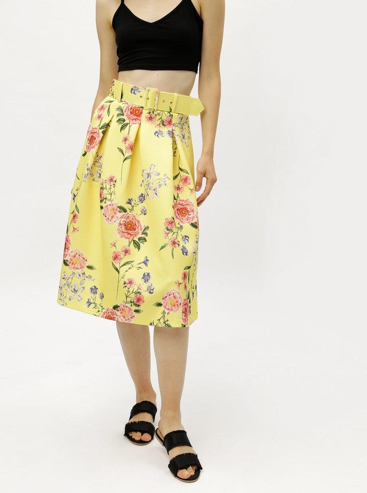 Žlutá květovaná sukně s páskem Miss Selfridge