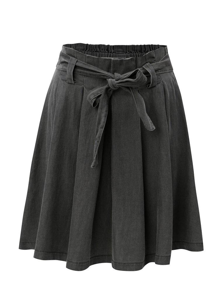 Sivá rifľová sukňa s opaskom VILA Bista