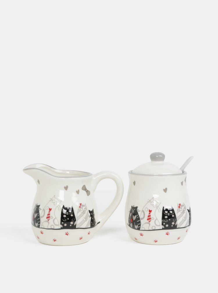 Krémová sada cukřenky a mléčenky s motivem koček Dakls