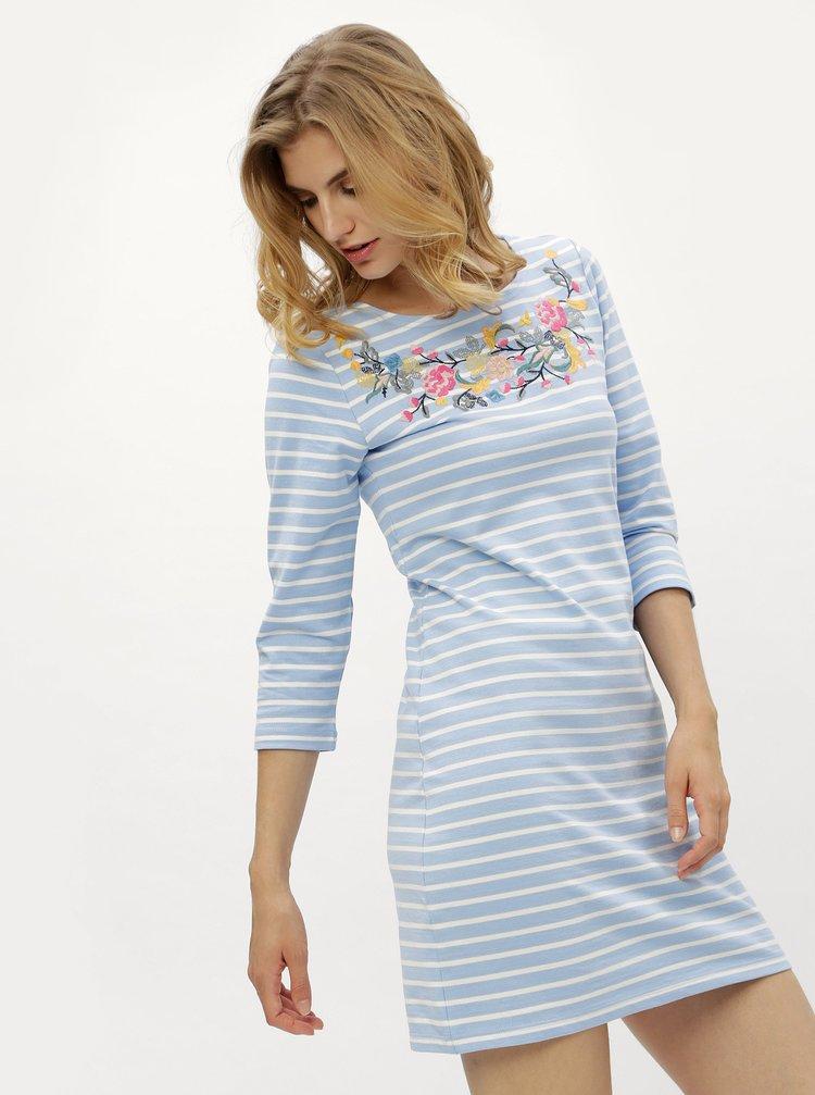 Krémovo-modré dámské pruhované šaty s výšivkou Tom Joule  Riviera