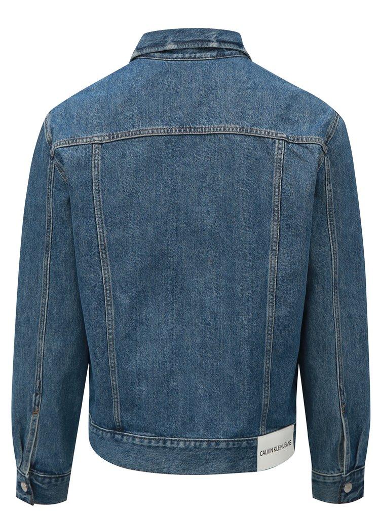 361a65960 ... Modrá pánska rifľová bunda s koženou nášivkou Calvin Klein Jeans
