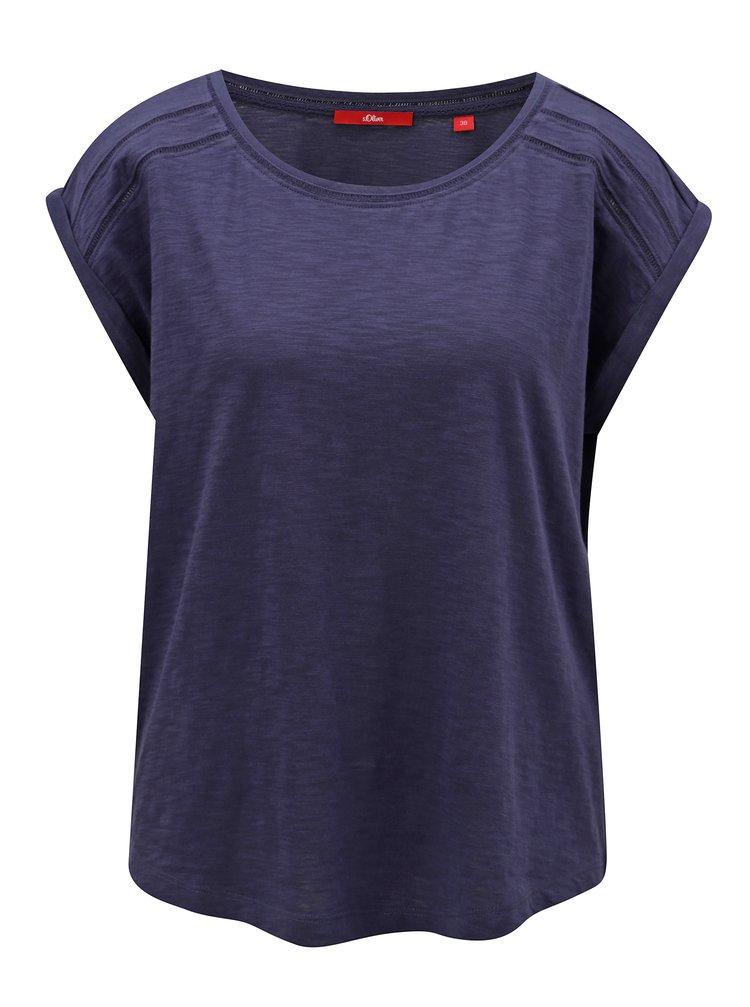 Oliver · Tmavomodré dámske voľné tričko s.Oliver c6ea0fe509