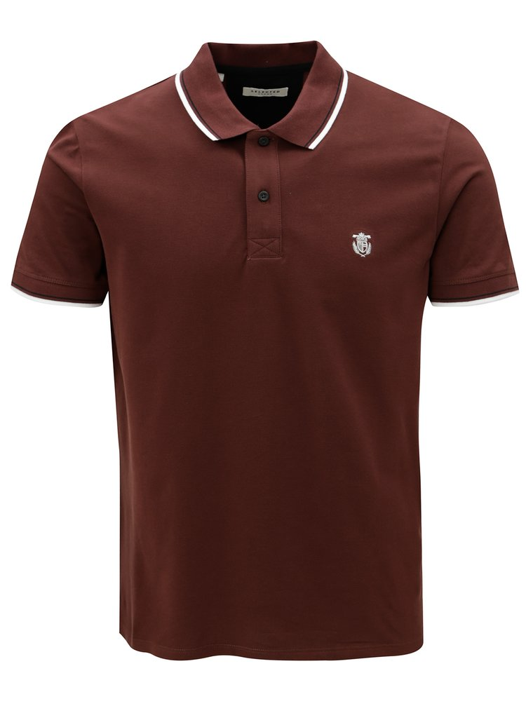 Tricou polo maro cu broderie Selected Homme New season