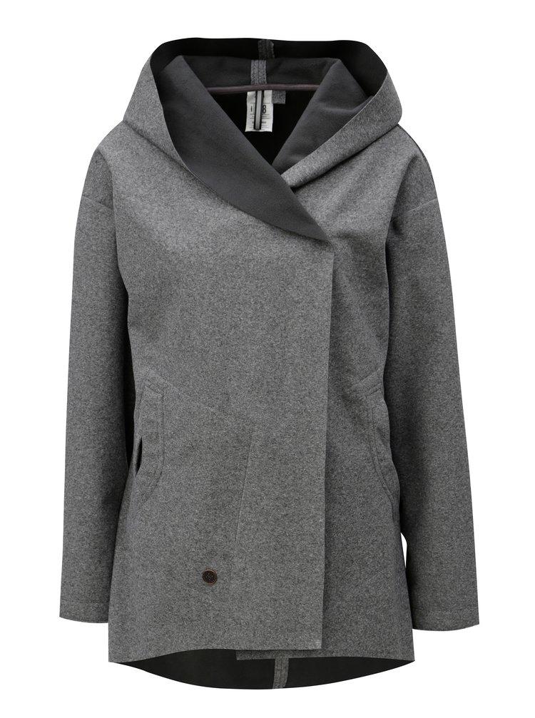 Šedá dámská žíhaná lehká voděodolná bunda s kapucí WOOX Coacta Simplex
