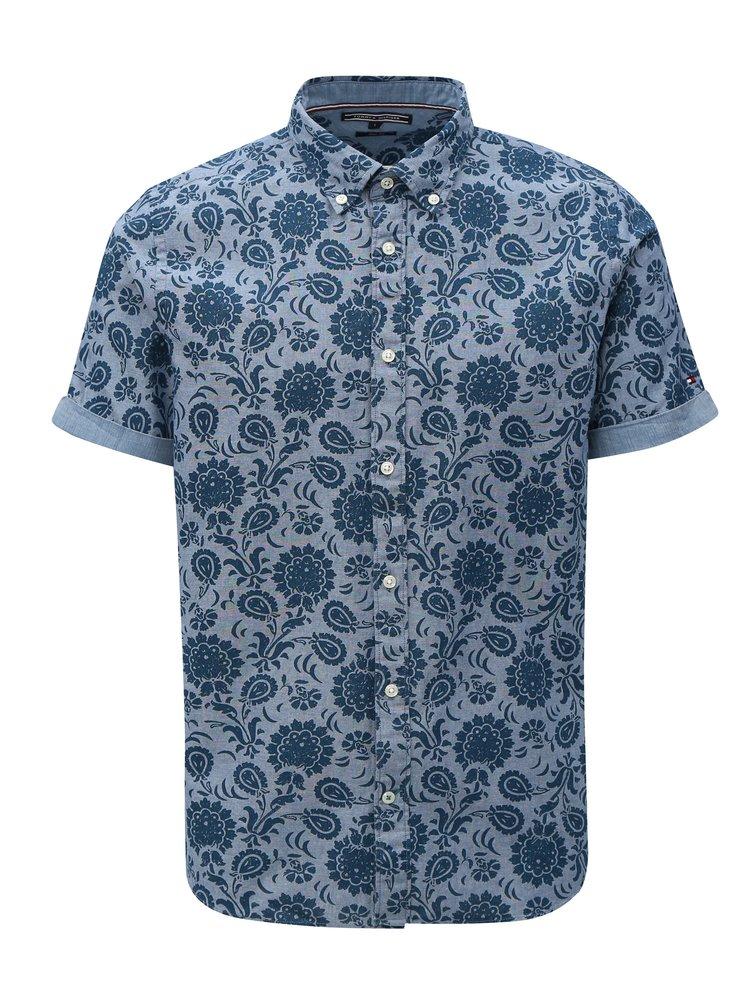 Modrá pánská vzorovaná slim fit košile Tommy Hilfiger
