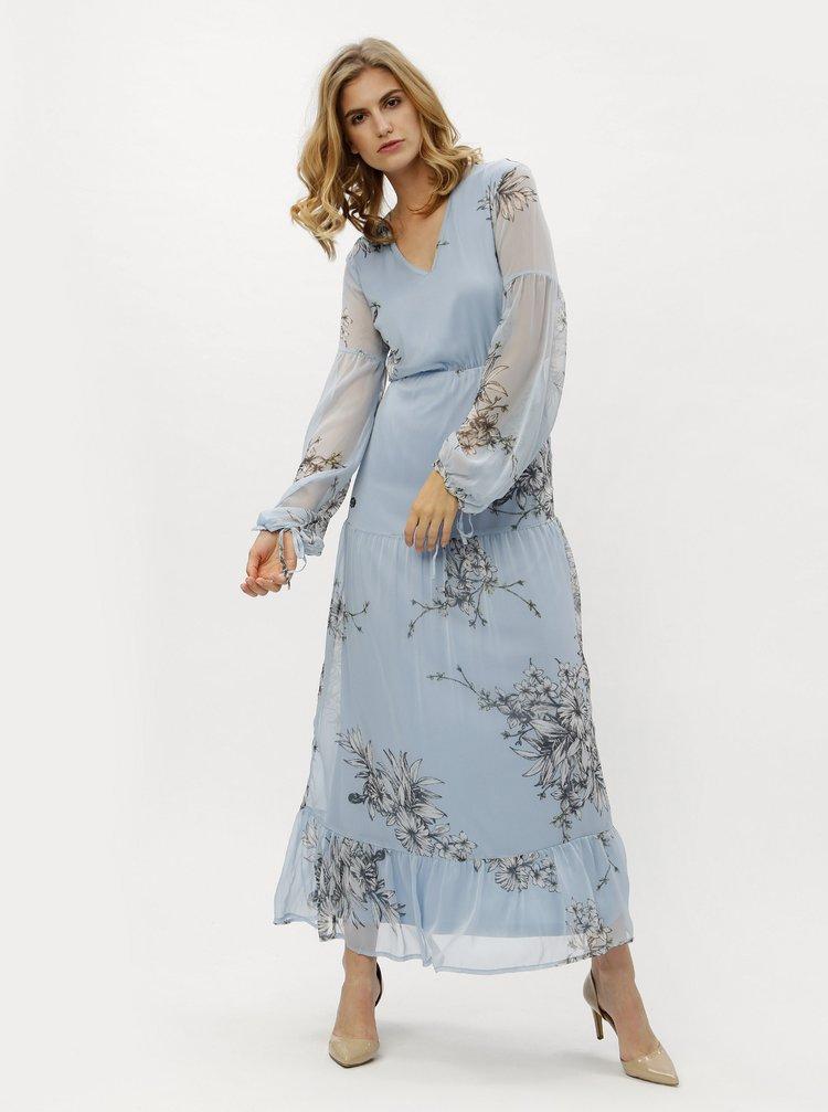Světle modré květované maxišaty s dlouhým rukávem VERO MODA Satina
