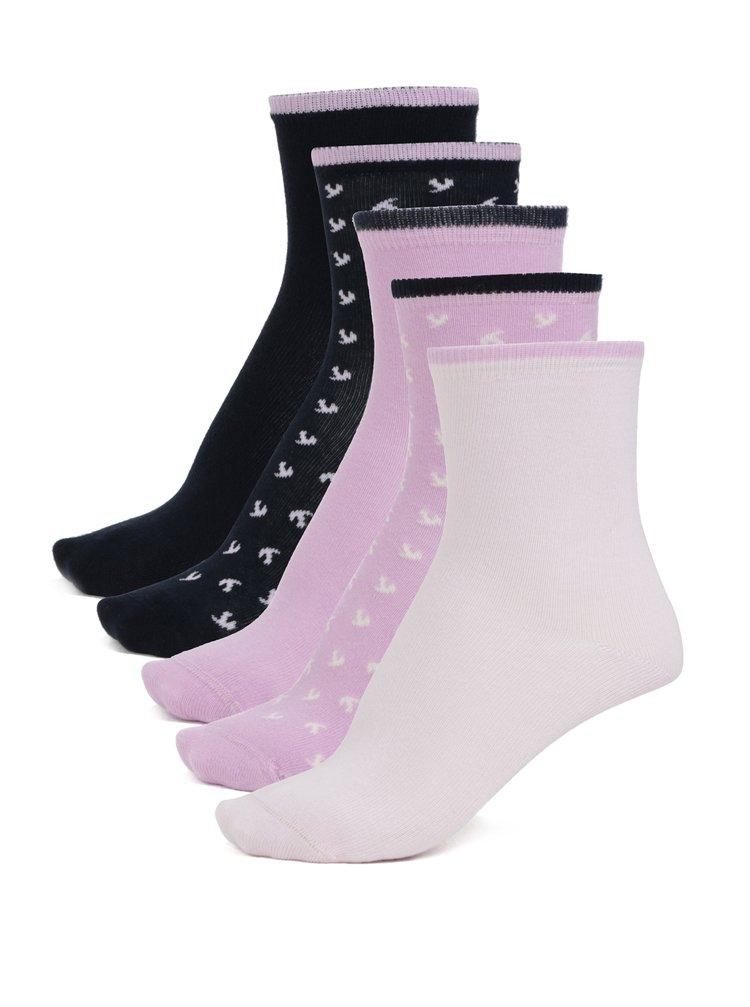 Sada pěti párů holčičích ponožek v růžové a modré barvě name it Vilde