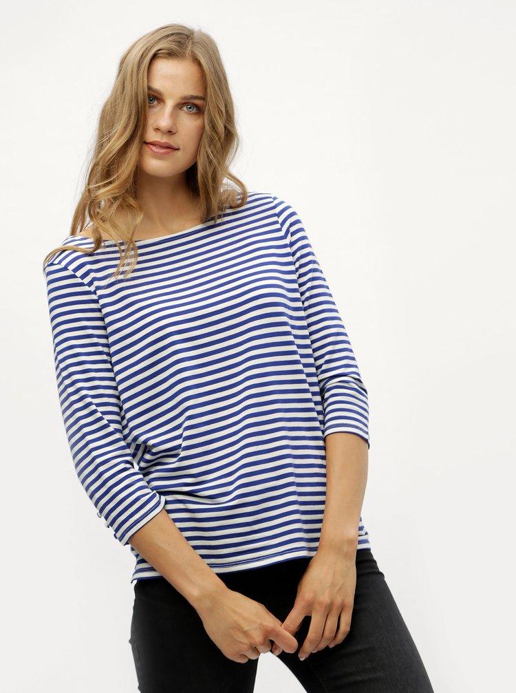 Modré pruhované basic tričko s 3/4 rukávem VERO MODA Jany